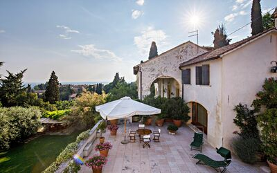 Villa Il Galero: View from the Villa to the Beretta on the First Floor Terrace
